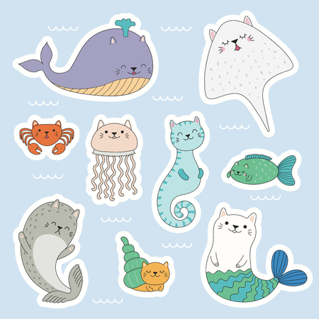 Illustration pour Set of kawaii stickers of sea animals with cat ears, mermaid, jellyfish, crab, seahorse, ray, whale, seal. Isolated objects. Hand drawn vector illustration. Line drawing. Design concept kids print. - image libre de droit