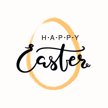 Ilustración de Hand written calligraphic lettering quote Happy Easter, with egg outline. Isolated objects on white background. Hand drawn vector illustration. Design concept, element for card, banner, invitation. - Imagen libre de derechos