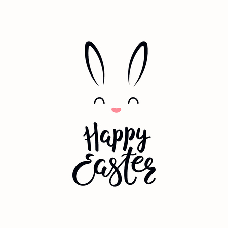 Illustration pour Hand written calligraphic lettering quote Happy Easter, with bunny face. Isolated objects on white background. Hand drawn vector illustration. Design concept, element for card, banner, invitation. - image libre de droit