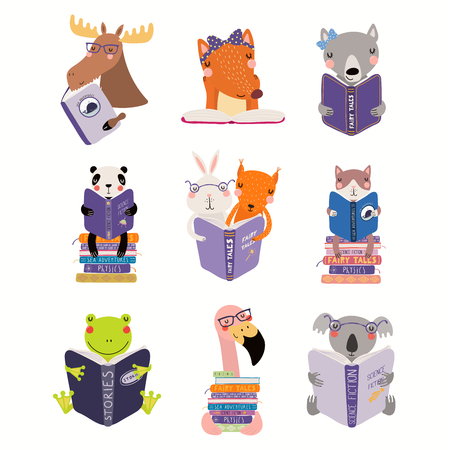 Ilustración de Big set with cute animals reading different books. Isolated objects on white background. Hand drawn vector illustration. Scandinavian style flat design. Concept for children print, learning. - Imagen libre de derechos