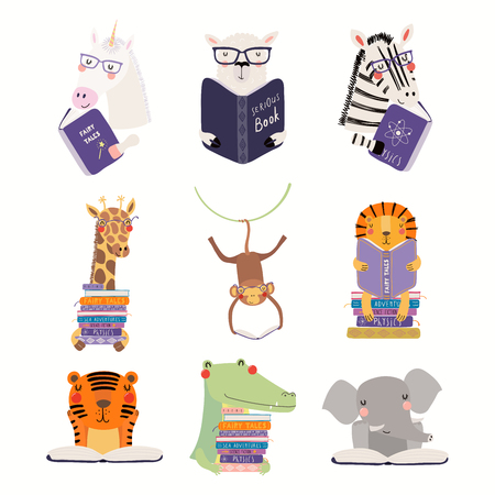 Illustration pour Big set with cute animals reading different books. Isolated objects on white background. Hand drawn vector illustration. Scandinavian style flat design. Concept for children print, learning. - image libre de droit