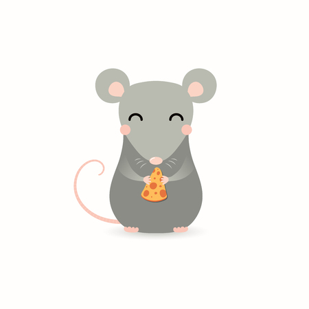 Illustration pour Hand drawn vector illustration of a cute little rat with a piece of cheese. Isolated objects on white background. Flat style design. Concept for Chinese New Year greeting card, holiday banner, decor. - image libre de droit