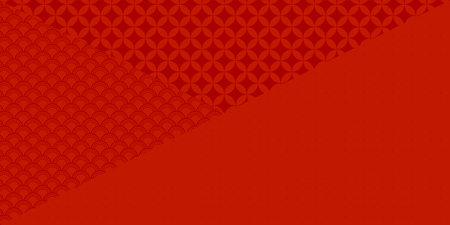 Ilustración de Chinese New Year red background with traditional eastern patterns. Vector illustration. Flat style design. Concept for holiday banner, decor element, greeting card. - Imagen libre de derechos