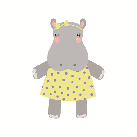 Ilustración de Hand drawn vector illustration of a cute funny hippo girl in a dress. Isolated objects on white background. Scandinavian style flat design. Concept for children print. - Imagen libre de derechos
