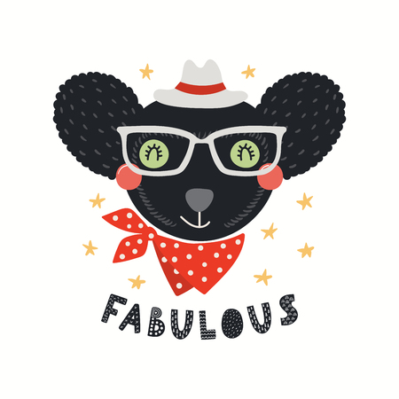 Illustration pour Hand drawn vector illustration of a cute hipster indri in glasses, with lettering quote Fabulous. Isolated objects on white background. Scandinavian style flat design. Concept for children print. - image libre de droit