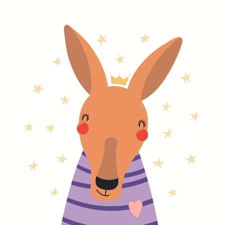Illustration pour Hand drawn portrait of a cute kangaroo in shirt and crown, with stars. Vector illustration. Isolated objects on white background. Scandinavian style flat design. Concept for children print. - image libre de droit