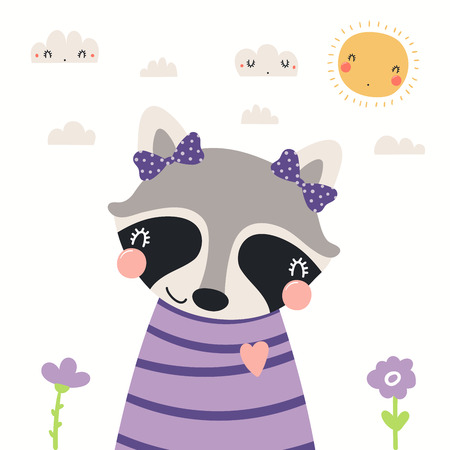 Illustration pour Hand drawn portrait of a cute raccoon in shirt and ribbons, with sun and clouds. Vector illustration. Isolated objects on white background. Scandinavian style flat design. Concept for children print. - image libre de droit