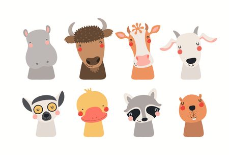 Ilustración de Big set of cute funny animals faces. Isolated objects on white background. Hand drawn vector illustration. Scandinavian style flat design. Concept for children print. - Imagen libre de derechos