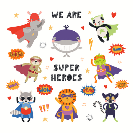 Ilustración de Big set of cute animal superheroes, with quote We are superheroes. Isolated objects on white background. Hand drawn vector illustration. Scandinavian style flat design. Concept for children print. - Imagen libre de derechos