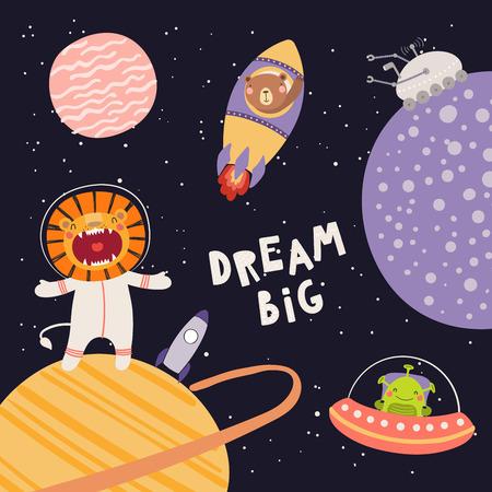 Ilustración de Hand drawn vector illustration of cute lion, bear astronauts, alien, in space, with lettering quote Dream big, on dark background. Scandinavian style flat design. Concept for children print. - Imagen libre de derechos
