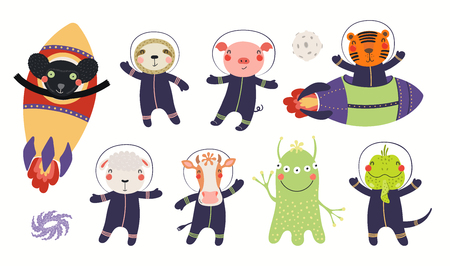 Ilustración de Big set of cute animal astronauts in space, with planets, stars. Isolated objects on white background. Hand drawn vector illustration. Scandinavian style flat design. Concept for children print. - Imagen libre de derechos