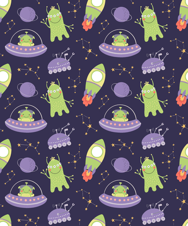 Illustration for Hand drawn seamless vector pattern with cute aliens, spaceships, constellations, on a dark background. Scandinavian style flat design. Concept for children, textile print, wallpaper, wrapping paper. - Royalty Free Image