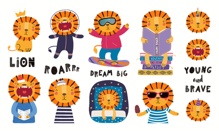 Illustration pour Set of cute lion illustrations, astronaut, king, sailor, unicorn, reading, sleeping. Isolated objects on white background. Hand drawn vector. Scandinavian style flat design. Concept for children print - image libre de droit