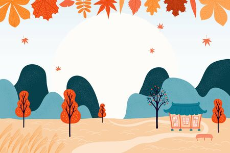 Illustration for Hand drawn vector illustration for Korean holiday Chuseok, with country landscape, falling leaves, full moon, hanok, trees, mountains. Flat style design. Concept for card, poster, banner. - Royalty Free Image