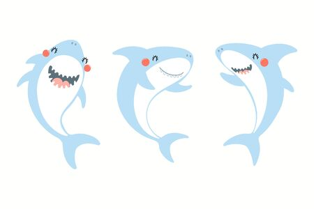 Illustration pour Collection of cute funny sharks. Isolated objects on white background. Hand drawn vector illustration. Flat style design. Color drawing. Concept for summer children print. - image libre de droit