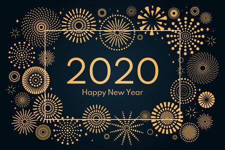 Ilustración de Vector illustration with golden fireworks frame on a dark blue background, text 2020 Happy New Year. Flat style design. Concept for holiday celebration, greeting card, poster, banner, flyer. - Imagen libre de derechos
