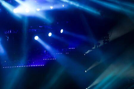 Photo pour Blue light on a rock concert stage as background. - image libre de droit