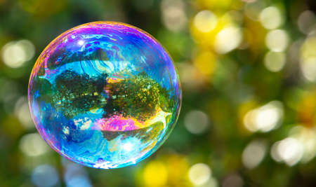 Photo pour A large soap bubble flies in the park. Nature - image libre de droit