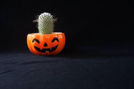Foto de Accessory of decorations Happy Halloween day background concept with cactus plant - Imagen libre de derechos