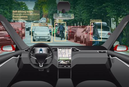 Photo pour Driverless electric car. Autonomous self driving mode. Head-up display. - image libre de droit