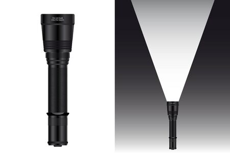 Realistic waterproof flashlight for hunting and travel. Vector illustration.