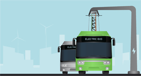Illustration pour Green and grey electric bus in a city with a blue background - image libre de droit
