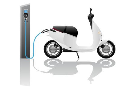 Ilustración de Electric scooter for sharing with charging station. Vector illustration - Imagen libre de derechos