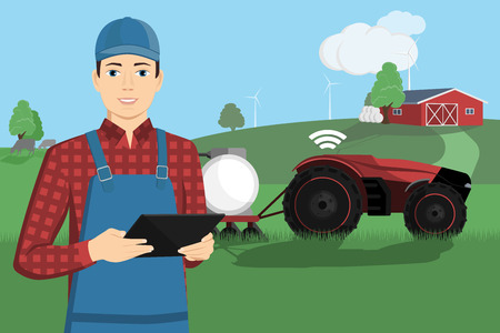 Illustration pour A farmer with a tablet computer controls a autonomous tractor on a smart farm. Vector illustration EPS 10 - image libre de droit