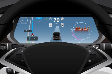 Illustration pour Self driving electric car dashboard display closeup. Vector illustration - image libre de droit