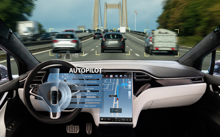 Photo for Self driving car on a road. Autonomous vehicle. Inside view. - Royalty Free Image