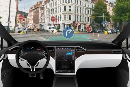 Photo pour Self driving car on a road. Autonomous vehicle. Inside view. - image libre de droit