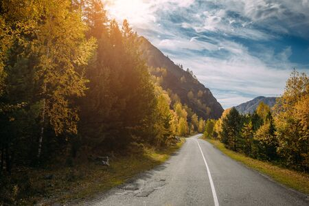Photo pour Asphalt mountain road among the yellow autumn trees and high rocks, in the bright rays of the sun. Road trip to the most beautiful places in Russia. - image libre de droit
