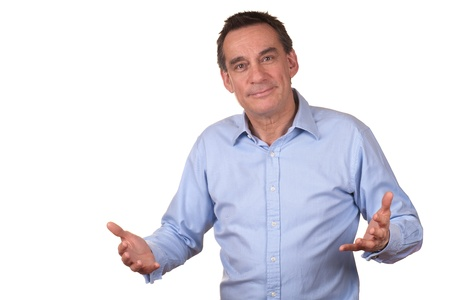Photo pour Smiling Middle Age Man in Blue Shirt with Raised Hands Talking - image libre de droit
