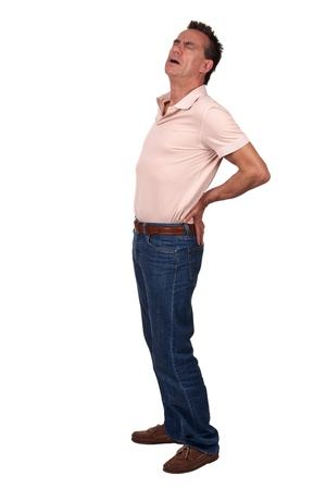 Full Length Portrait of Middle Age Man with Back Pain wearing Casual Clothes