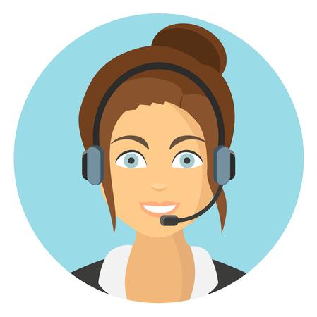 Vektor für Business woman in call center flat design icon - Lizenzfreies Bild