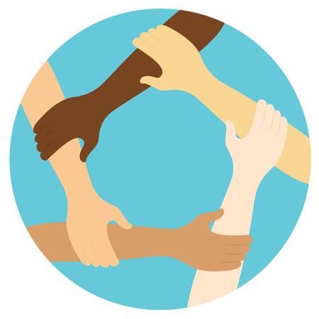 Ilustración de teamwork symbol ring of hands flat design icon Vector illustration. - Imagen libre de derechos