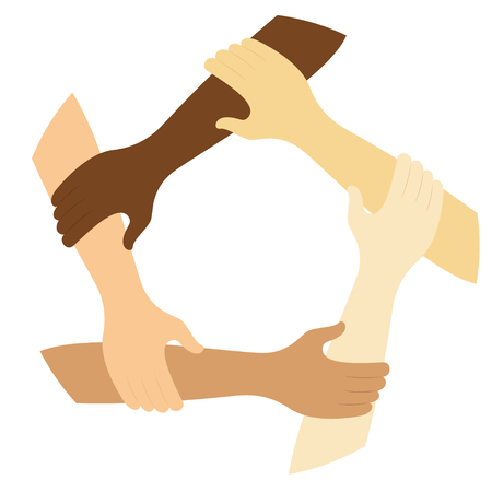 teamwork symbol ring of hands flat design icon Vector illustration.