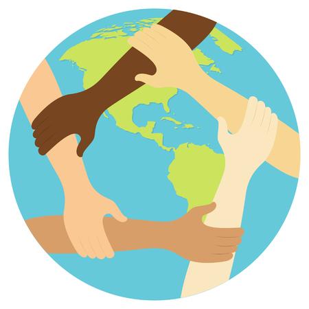 Illustration pour teamwork symbol ring of hands flat design icon Vector illustration. - image libre de droit