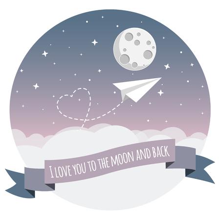 Ilustración de paper airplane flying over clouds to the moon with heart flat design icon - Imagen libre de derechos