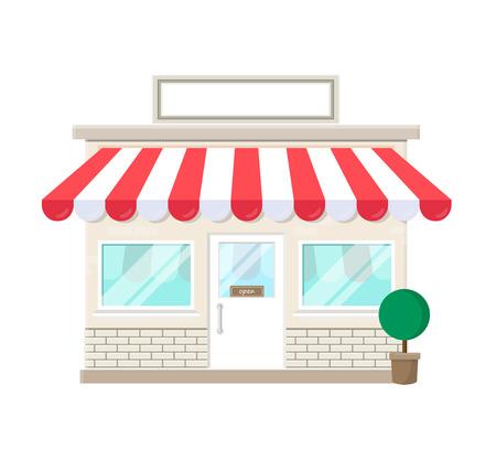 Ilustración de shop store icon with blank sign facade house isolated on white background - Imagen libre de derechos