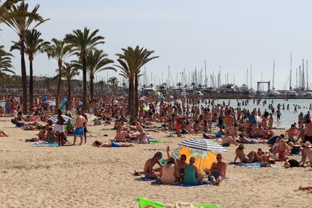 Crowded beach in El Arenal, Majorca, Spain