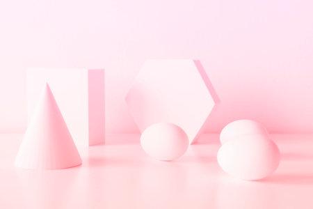 Foto de mid century moder composition of geometric shapes with egg for easter - Imagen libre de derechos