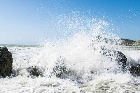 Photo for Coast of Sicily Italy with large rocks and big waves - Royalty Free Image
