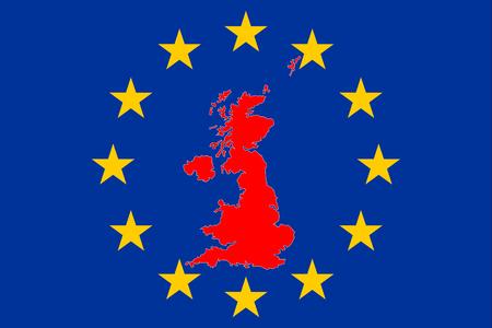 Foto de Brexit Great Britain Map with European Stars Circle - Imagen libre de derechos