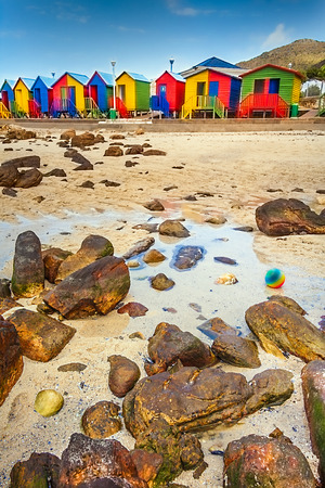 Colorful beach huts in St. James South Africa