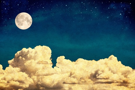 A fantasy cloudscape with stars and a full moon overlaid with a vintage, textured watercolor paper background.