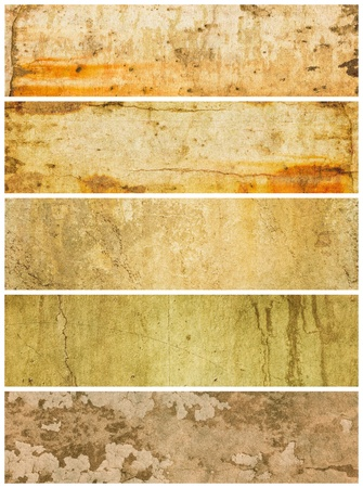 Photo pour A group of five grunge panels with varying textures and colors. - image libre de droit