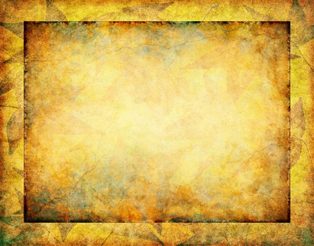 Subtle fall leaves on a glowing, vintage paper background with a dark grunge inner border.