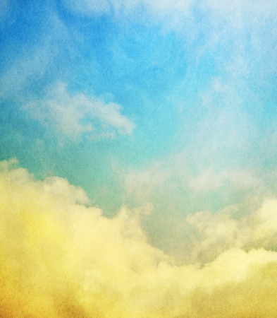 Fog, mist, and clouds with a yellow to blue gradient   Image has a textured paper overlay and grain pattern visible at 100