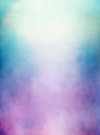 An abstraction of clouds and fog with a purple to green gradient   Image displays a distinct paper texture and grain at 100